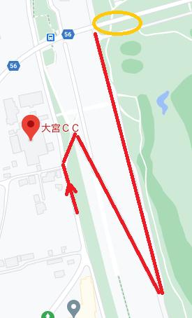大宮カントリークラブのコース側の駐車位置。